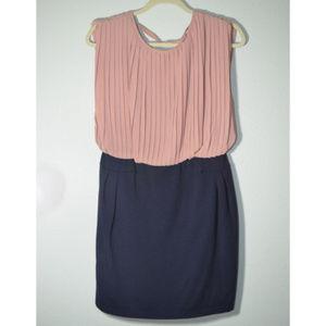 GB Peach Navy midi dress large career wear /casual